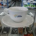 Cup and Sauccer porcelain dengan logo perusahaan
