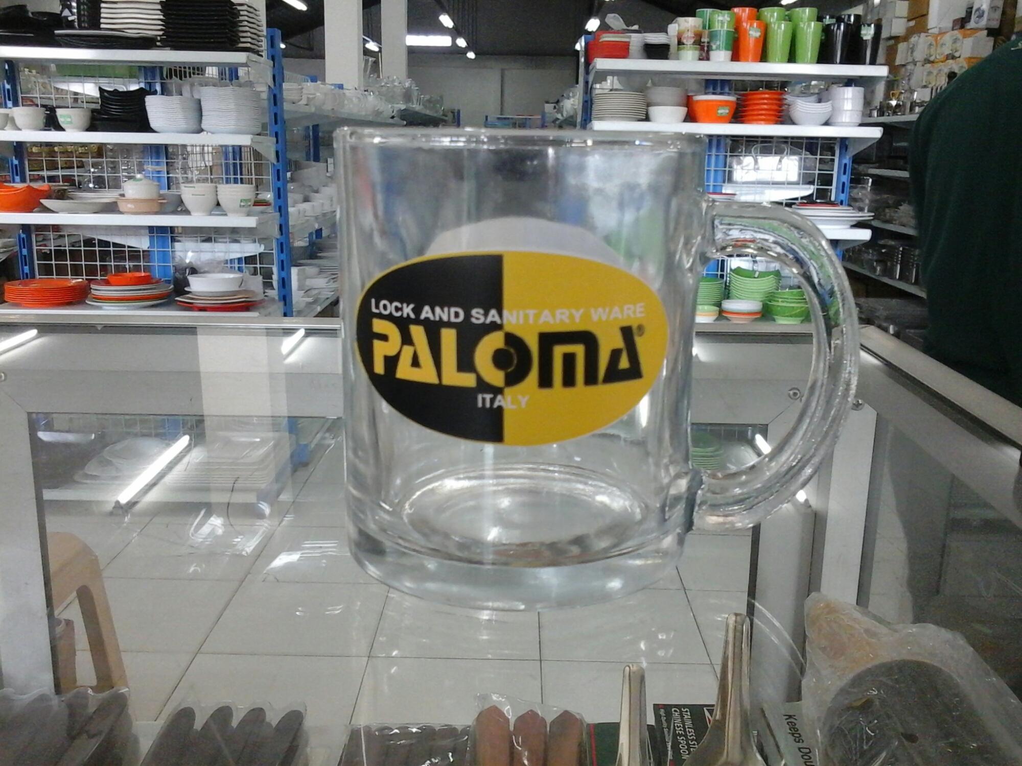 Gelas dengan printing dekal logo perusahaan